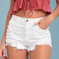 Nova White Distressed High-Waisted Denim Shorts