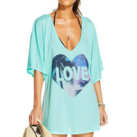 """Green """"Love"""" Tee Cover-Up"""