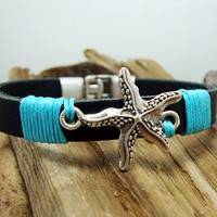 FREE SHIPPING - Men's Bracelet,Leather Men Bracelet,men's Leather Bracelet,Black leather with sea star sign,blue yarn,silver plated Clasp