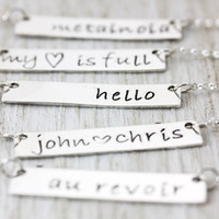 Personalized Bar Necklace | Sterling Silver Name Plate | Delicate Layering Necklaces | Hand Stamped Name Date Mantra | Christina Guenther