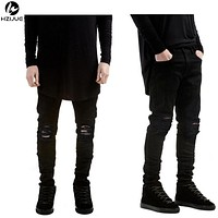 Ripped Jeans Men With Holes  Skinny Designer Slim Fit Destroyed Torn Jean Pants For Male