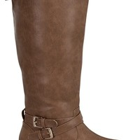KHAKI TALL FAUX LEATHER BUCKLE RIDING MOTO FLAT BOOTS