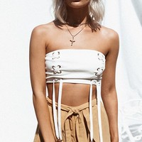 She's The One White Strapless Lace Up Ribbon Tie Crop Tube Top - Sold Out