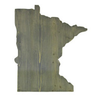 Minnesota State in 2ft size in Weathered Grey Stain Wood Sign Wall Decor Rustic Americana Chic Alternative Wedding Guest Book