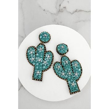 Cactus Beaded Statement Earrings in Turquoise
