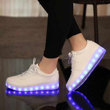 Fashion Glowing sneakers Usb charging shoes led Slippers do with Lights Up colorful Led tenis simulation Kids Luminous Sneakers