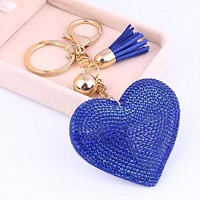 Puffed Heart Crystal Purse Charm Keychain - In Five Colors for Woman