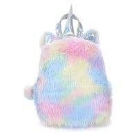 Unicorn Rainbow Faux Fur Backpack