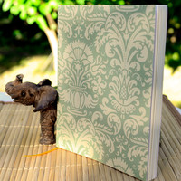 Journal, Handmade Green Damask Petite Notebook with Artist Paper, Bridesmaids Gifts, Jotter
