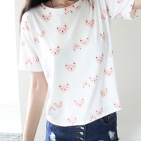 Pink Cat Patterned White Tee