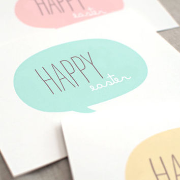 Handmade Easter Card Set - Speech Bubble Happy Easter Cards Happy Spring - Mint, Peach Pink, Yellow - Recycled Cards