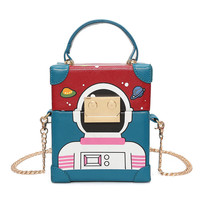 Lolita Girls Cartoon PU Hard Case Metal Trunk Women Chains Totes Handbags Crossbody Bags Ladies Business Box Clutch Shoulder Bag