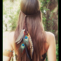 Kuyani, feather, headband, boho,  gypsy, coachella, tribal, belly, dance, music, festival, headress, hair, acesessories, wedding, bohemian,