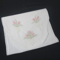 1960s Vintage Embroidered Linen Dresser or Piano Scarf, Table Runner, White with Pink & Green Embroidery, Crochet Lace Trim, Vintage Linens