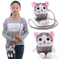 Portable 2 Layer Cartoon Chi's Cat Cellphone/Key/Coin purse/Card Plush Cross Body Bags Kids girls HandBag 5*6'' New #