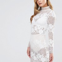 Dark Pink High Neck Lace Dress at asos.com