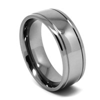8mm Grooved Classic Titanium Mens Wedding Ring (Available in Sizes 4-17)