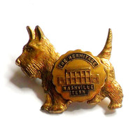 The Hermitage Scottish Terrier Pin Vintage Souvenir Nashville Tennessee Gold Tone Brooch