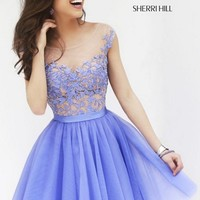 Sherri Hill 11171 Floral Embroidered Sheer Illusion Bodice Tulle Prom Dress in Blue - A Line, Bateau