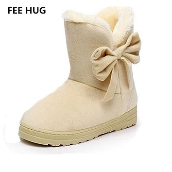 FEE HUG Winter Women's Snow Boots High Quality Thicken Warm Fur Mid-Calf Boots Woman Ladies Casual Shoes Botas Femininas 42 SIZE