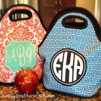 Monogrammed Lunchbox, Monogrammed Lunch Bags Insulated Neoprene, Monogrammed Lunch Bag, Personalized Lunch Tote, Design Your Own