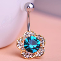 Emerald Rhinestone Flowers Piercing Belly Button Ring Barbell Piercing Ring Body Jewelry Summer Style Women Body Chains Plug
