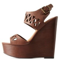 Tan Laser Cut-Out Wooden Platform Wedges by Charlotte Russe