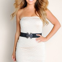 Gold Bronze Beauty Belted Waist Bandage Textured Knit Tube Top Club Dress