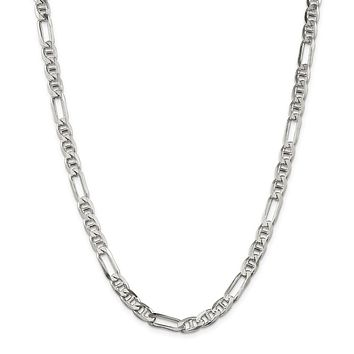 Sterling Silver 6.5mm Figaro Anchor Chain Necklace
