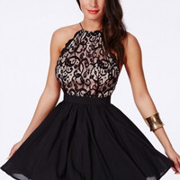 Cross Back Lace Detail Party Skater Dress