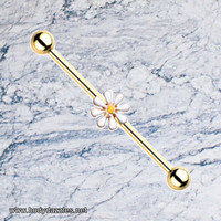 Daisy Gold Industrial Barbell 14ga Scaffold Piercing Body Jewelry 316L Surgical Stainless Steel
