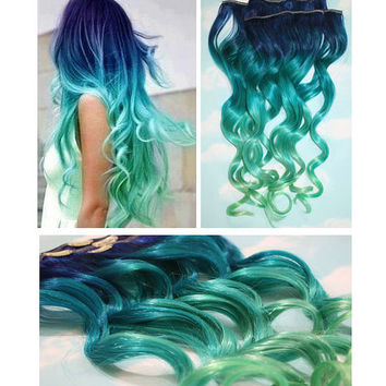 Blue Lagoon, Blue Green Ombre Dip Dyed Human Hair Extensions, Full Set Clip In Extensions, Hippie, Festival, Tye Dye Hair, Hair Weft