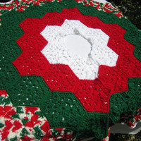 Christmas Tree Skirt Crocheted Granny Hexagons in Red Green and White