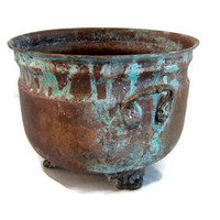 Verdigris vintage deep copper bowl. Footed bowl with two handles. Rustic copper planter.
