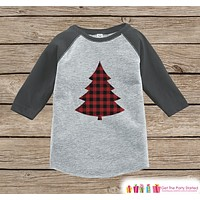 Kids Christmas Shirt - Plaid Christmas Tree Shirt - Girl or Boy Sibling Shirts - Christmas Pajamas - Family Shirts - Grey Baseball Tee