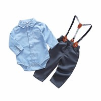 Newborn Baby Clothes Gentleman Baby Boy 2018 New Style Grey Shirt+Overalls Fashion Baby Boys Clothing Sets