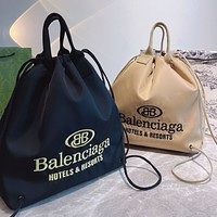 Balenciaga New Canvas Embroidered Letter Logo Women's Drawstring Backpack School Bag Daypack
