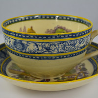 Vintage Two Color English Transferware  Adams Tea Cup & Saucer Blue Purple Yellow Deer & Lake Scenery
