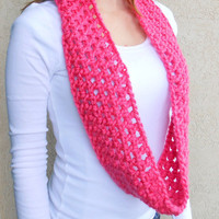 Mothers Day gift ideas, Pink Women's Infinity Scarf, Handmade, Gifts for Her, Pink Scarves