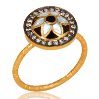24K Yellow Gold Plated Sterling Silver Enamel Traditional Fashion Cocktail Ring