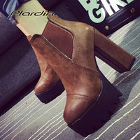 2017 Sexy Ultra High Heels Shoes Woman Martin Boots Female Round Toe Martin Boots 9cmThick Heel Platform Women Shoes Ankle Boots