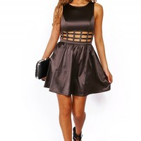 Trendy Cute gunmetal gray cut out chain waist A line cocktail party mini dress for cheap. Womens Clothing -1015store