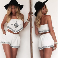 Sexy Women Strapless Embroidery Irregular Crop Tops Elastic Waist Pocket Shorts Two Piece Set SV022566 = 1655752324