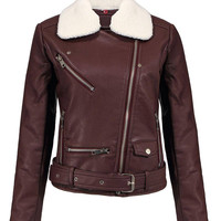 Burgundy Faux Leather Jacket with Detachable Collar