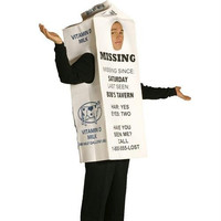 Adult Halloween Costume - Milk Carton With  Missing Person Ad