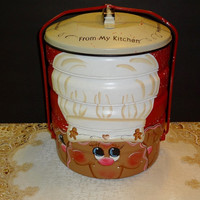 Gingerbread Regal Ware Picnic Pack Handy Food Carrier,, Gingerbread Decor, Kitchen Decor, Canisters,,