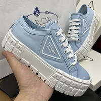 Prada New Canvas Embroidered Platform Shoes Womens Triangle Logo Casual Shoes sneakers