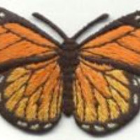 Black Orange Yellow Butterfly Monarch Iron-on patch Sew on embroidered patches sew-on by capital city patch CO