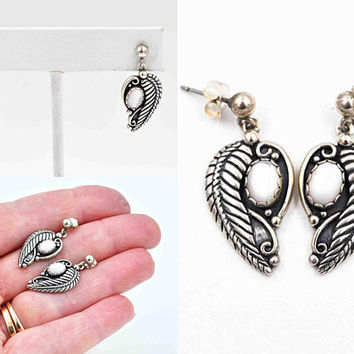 Vintage Navajo Sterling Silver & White MOP Feather Pierced Earrings, Wheeler Manufacturing Co, Artist Signed, So Beautiful! #c482
