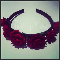 Maroon Rose Spike Headband